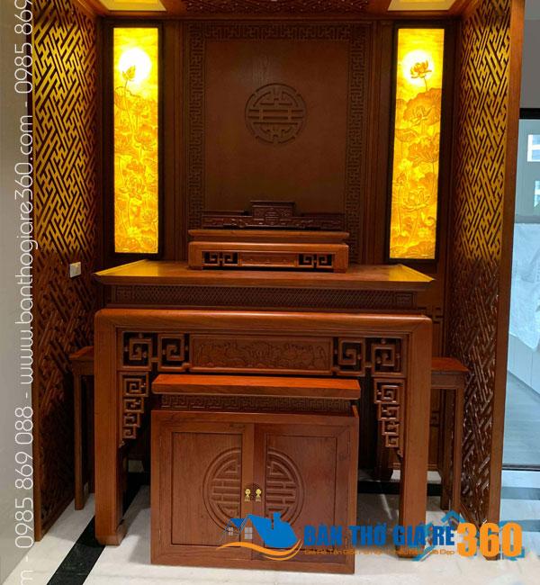Mẫu bàn thờ gỗ sồi đẹp nhất dáng đứng hiện đại tại Hà Nội