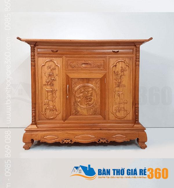 Tủ thờ gỗ Gõ Đỏ mẫu Chữ Phúc ngang 153cm