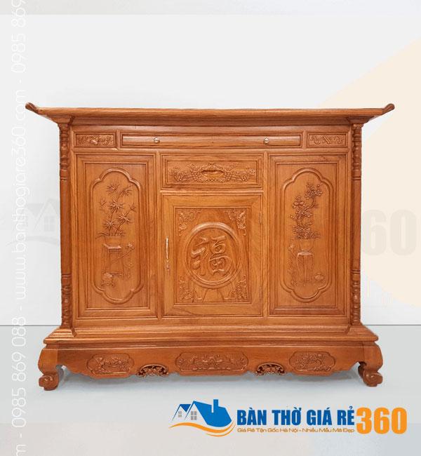 Tủ thờ gỗ Gõ Đỏ mẫu Chữ Phúc ngang 175cm