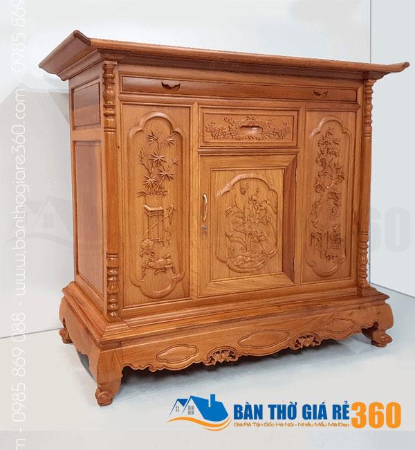 Tủ thờ gỗ Gõ Đỏ mẫu Liên Hoa ngang 153cm