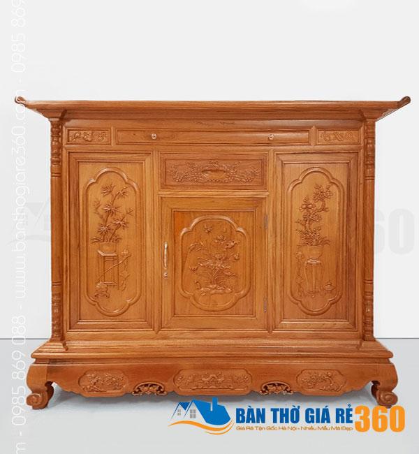 Tủ thờ gỗ Gõ Đỏ mẫu Liên Hoa ngang 175cm
